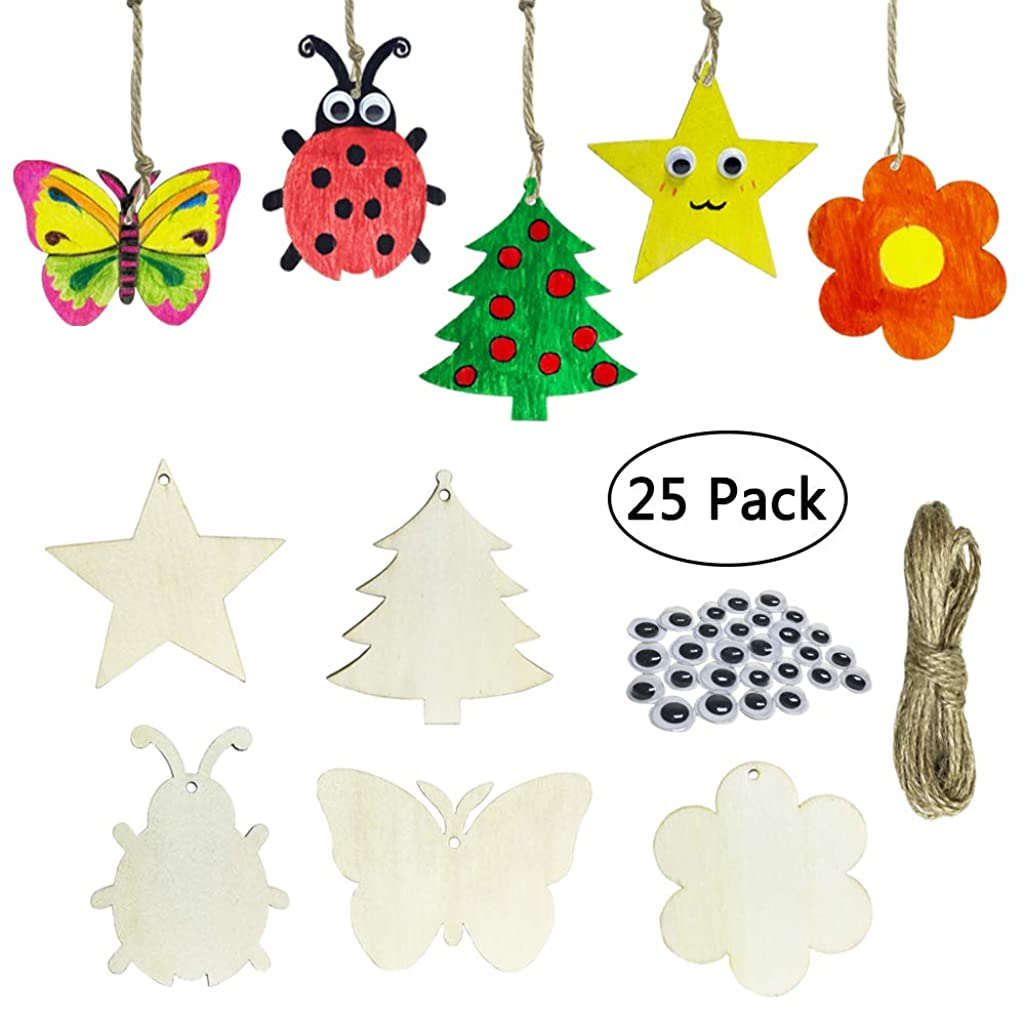 Cocostar 25PCS in Set Unfinished Wooden Cutouts Banner Favor Tags Gift Tags Treats Tags for DIY Kids Cards Wedding Decorations with Tree&Butterfly&Ladybug&Star&Flower Strings Googly Wiggle Eyes