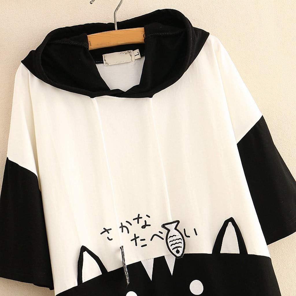 Ulanda Damen Katze Pulli Pullover Sweatshirt Top Hoodies Langarmshirt Streetwear Herbst Winter Tops Bluse Kapuzen 4#schwarz