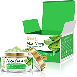Oriental Botanics Aloe Vera, Green Tea & Cucumber Night Gel, 50gm (With Pure Aloe Vera, No Paraben or Silicon)