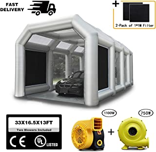 Spray Booth LuckyWe Inflatable Spray Paint Booth 33x16.5x13FT with Two Blowers (1100W+750W) Filter System Portable for Car Parking Tent Workstation Airbrushing Painting