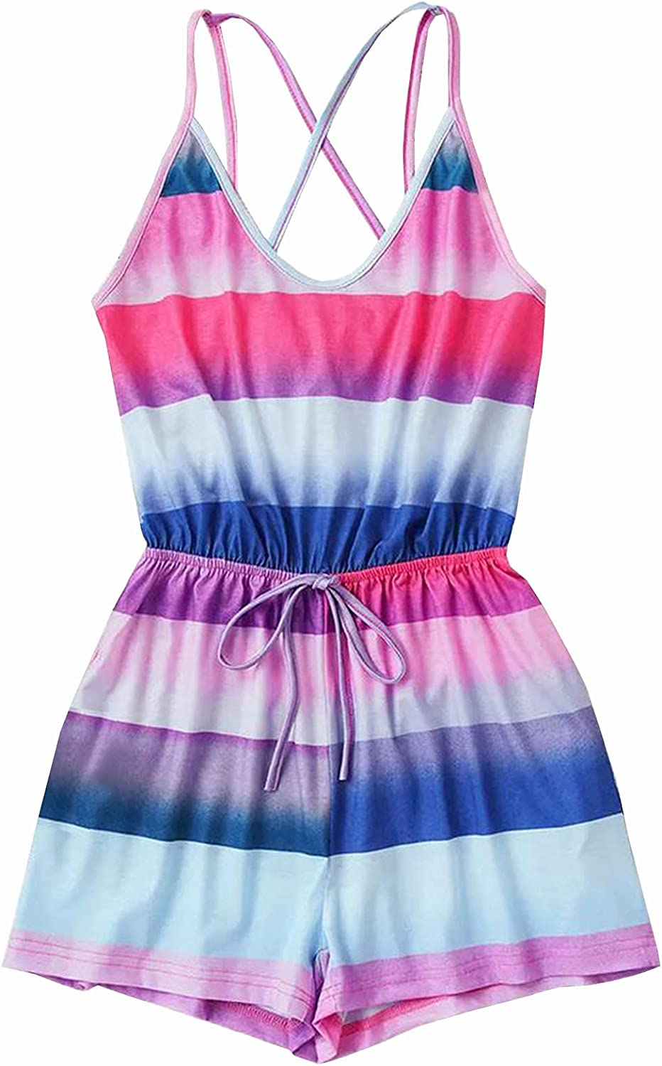 Misaky Women's Loose Fashion Leisure Striped Camisole Drawstring Jumpsuit Vacation Jumpsuit