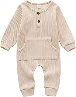GRNSHTS Baby Boys Girls Jumpsuit Unisex Toddler Ruffle Long Sleeve with Pocket Autumn Winter Outfit