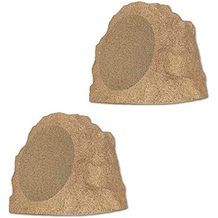"""Theater Solutions B82S Fully Wireless 300 Watt Rechargeable Battery Bluetooth 8"""" Rock Speaker Pair Sandstone Brown Link Up to 99 Speakers Wirelessly"""