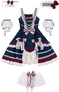 White Blue Cosplay Lolita Dress Classic Lolita JSK Skirt Victorian Style Kawaii Clothing Princess Girls (Color : Full set,...