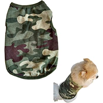 Alroman Dog Shirts Pet Shirts Dog T-Shirt Puppy Tee Dog Vest Puppy Vest Pet Clothes for Small Dogs and Cats Doggie Camouflage Shirt Puppy Summer Apparel Dogs Army Green Camo Shirt Pet Beach Wear(L)