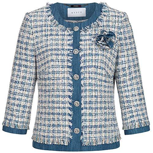 NVSCO Tweed-Blazer mit 3/4-Arm 34 blau/Creme
