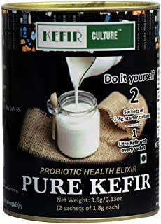 KEFIR CULTURE 3.6 G, 0.13 oz Pure, Organic, Probiotic, Builds Immunity and Health Starter Kit -2 Sachets of 1.8 G Each