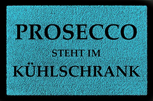 Interluxe deurmat Prosecco staat in de koelkast vrouw geschenk voor verjaardag turquoiseblauw