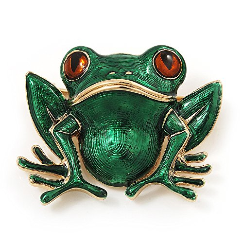 Avalaya Green Enamel 'Toad' Brooch in Gold Plated Metal