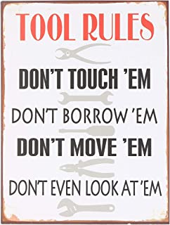 NIKKY HOME Tools Rules Metal Wall Sign Home Painting Garage Decor