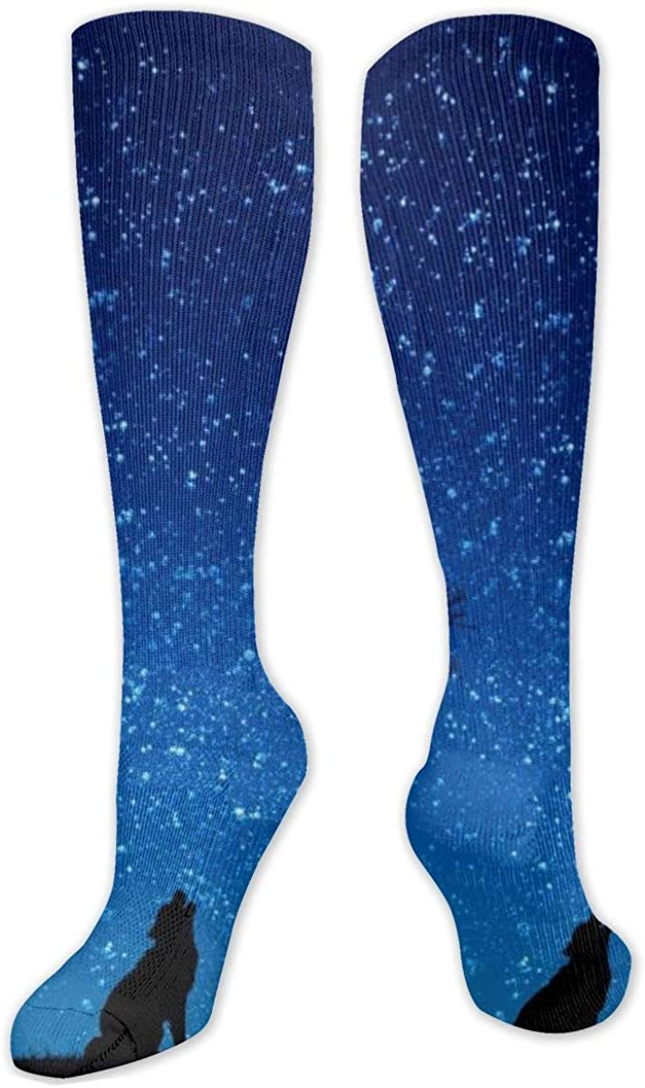 Blue Wolf And Moon Knee High Socks Leg Warmer Dresses Long Boot Stockings For Womens Cosplay Daily Wear