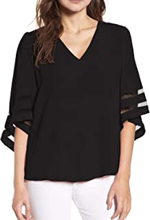 Women's V Neck 3/4 Bell Sleeve Chiffon Blouse Mesh Panel Loose Top Shirts