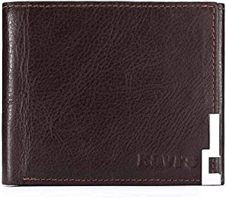 Leather Bag Mens Multi-Function Leather Purse Multi-Card Wallet Coin Bag for Men High Capacity (Color : Brown, Size : S)