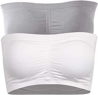 Women's Bandeau Bra, Strapless Basic Layer Tube Top Padded Seamless Bra