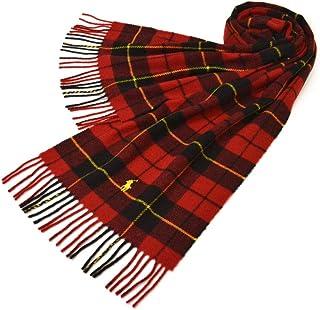 Ralph Lauren(ラルフローレン)マフラー メンズ/レディース タータンチェック柄ウールマフラー(サイズ約167cm×約30cm)erl19w113 PC0458 Classic WoolTartan Scarf Red/Black T...