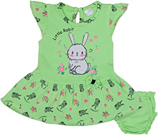 Hopscotch Baby Girls Cotton Short Sleeves with Cute Prints Dress Jhabla with A Solid Panty in Green Color