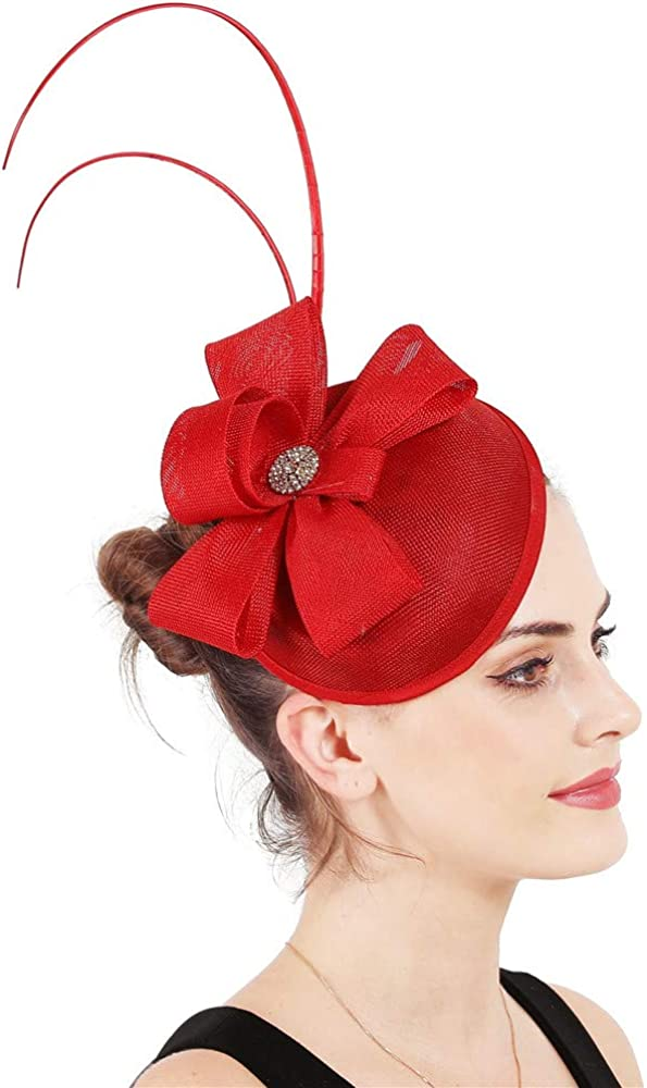 YONQUIL Summer Loop Black Fascinators Hats Female Event Party Headwear SYF322