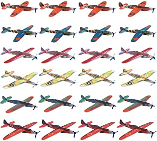 Kissmi Pack of 24 Flying Glider Planes ,Light Weight Foam Airplanes ,Easy Assembly Various Designs,Birthday Party Favors ,Fun Gift for Kids (8 Inch)
