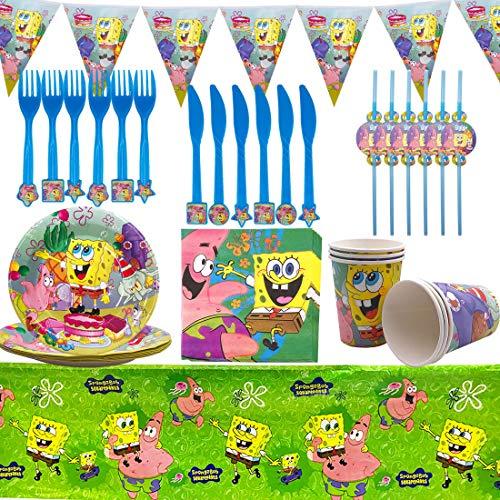 Party Supplies Set - YUESEN 42PCS SpongeBob Decoración de la Fiesta de cumpleaños Infantil de SpongeBob Vajilla Cumpleaños Mantel Tenedores Cuchillos Platos Cumpleaños de Fiesta para 6 Niños