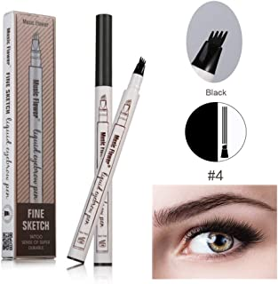 Eyebrow Tattoo Pen for Eyes Makeup Pencil with a Micro-Fork Tip Applicator - 24 Hours Waterproof Long Lasting Smudge (Black)