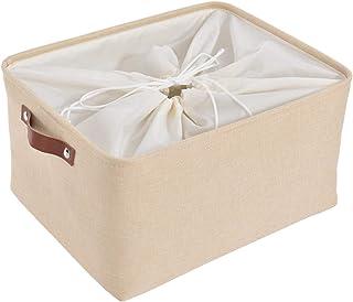 SOCOHOME Boîte de Rangement en Tissu , Panier de Rangement Pliable avec Poignées pour Vêtements, Jouets, Étagères (Beige, ...