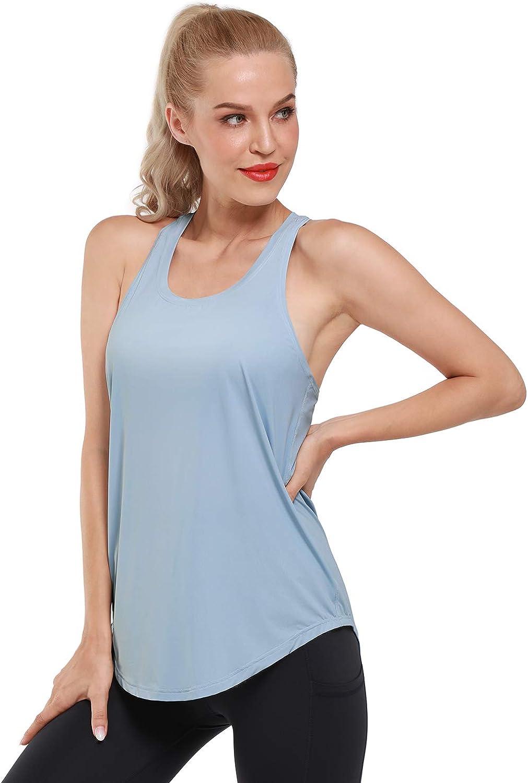 Promover Camiseta sin Mangas Deportiva para Mujer Ligera Plisada Holgada Espalda Cruzada para Fitness Yoga