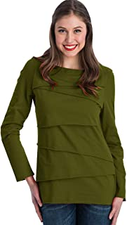 Women's Loose Fitting Cotton T Shirt Female Long Sleeve Boatneck