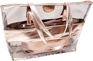Summer Beach Totes PVC Transparent Women Shopping Bags Shoulder Handbags JF#E
