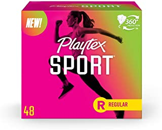 Playtex, Sport Tampons Regular Absorbency, White, Unscented, 48 Count