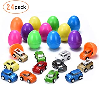 YUNNI Easter Eggs with Toys Inside, 24 Pcs Plastic Bright Colorful Easter Eggs Filled Mini Toys Pull Back Cars 2.75 Inches Tall for Easter Egg Hunt (24 Pack)
