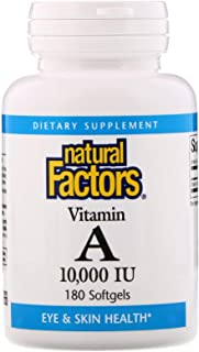 Natural Factors Vitamin A 10,000 IU 180 Softgels (Packaging May Vary)