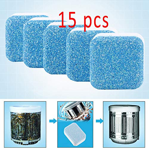 15 Pieces Effervescent Tablet Washer Cleaner, Solid Washing Machine Cleaner, Deep Cleaning Remover with Triple Decontamination for Bath Room Kitchen
