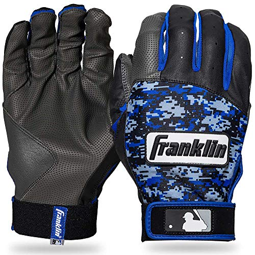 Franklin Sports MLB Digitek Baseball Batting Gloves - Gray/Black/Royal Digi - Youth Large