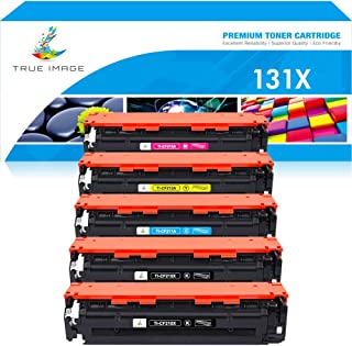 True Image Compatible Toner Cartridge Replacement for HP 131X 131A CF210X CF211A CF212A CF213A LaserJet Pro 200 color M251nw M251n MFP M276nw M276n (Black Cyan Yellow Magenta, 5-Pack)