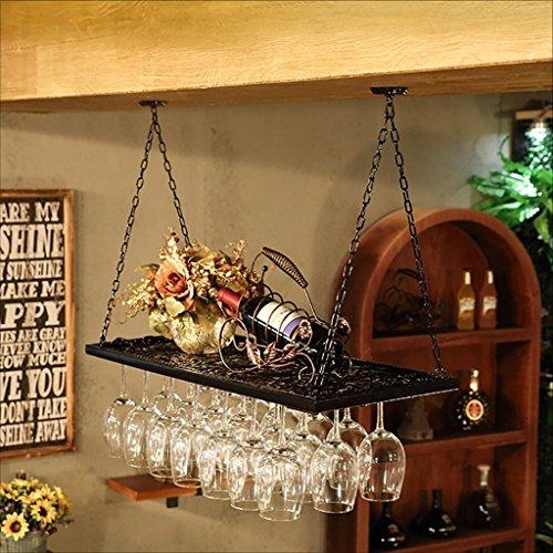 Dongyd Portavasos de vino, Portavasas de vino vintage Estante Portavasas de vino de hierro forjado, Soportes de vino colgantes Portavasas de champán (Color : Black, Size : 80 * 31cm)