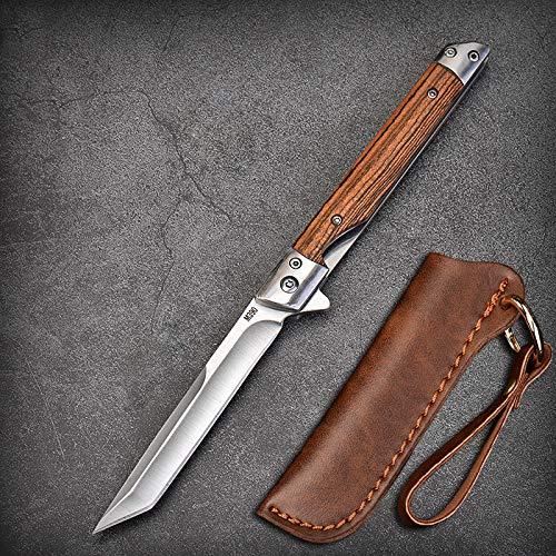 Eil Klappmesser Scharfes Taschenmesser mit Holzgriff. Survival Einhandmesser mit Flipper & Kugellagern, Jagdmesser aus Edelstahl (Weiß - Quadratisches Kopfmesser)