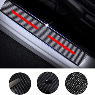 for Ford Fiesta Focus Fusion C-max Mustang Taurus Escape 4D Carbon Fiber Door Sill Guard Protector Kick Plate Trim Covers Stickers with Constellation Virgo Pattern White 4Pcs