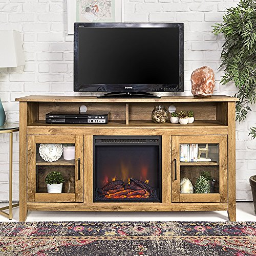 HOME ACCENT FURNISHINGS New 58 Inch Wide Highboy Fireplace Television Stand in Barnwood Finish