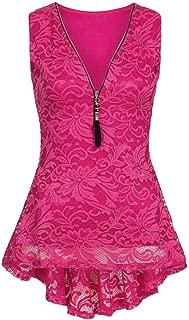2018 Fashion Women Elegant V-Neck Zip Up Floral Lace Tank Tops Tunic Summer Sleeveless Blouse Shirts Cami