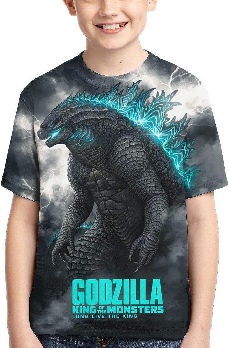 Youth Boys Girls Dinosaur King of Monsters 3D Printed Short Sleeves T Shirt Fashion Youth Tee Shirts
