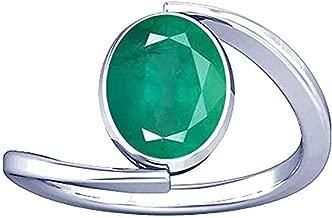 Divya Shakti 6.25-6.50 Ratti Emerald/Panna Silver Ring Natural A+ Quality Gemstone for Women
