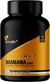 Amalth Damiana Capsules Extract Powder 90 Count 5000mg - Stamina Enhancer for Men, Energy Booster