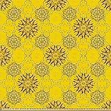 ABAKUHAUS Gelbes Damast Stoff als Meterware, Swirly Blumen,
