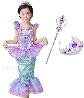 CREDIBLE 子供 用 プリンセス ドレス コスチューム 4点セット ・ マーメイド ( プリンセスドレス , ハートのティアラ , 魔法のステッキ , CREDIBLEオリジナルグッズ ) 120cm NT5092