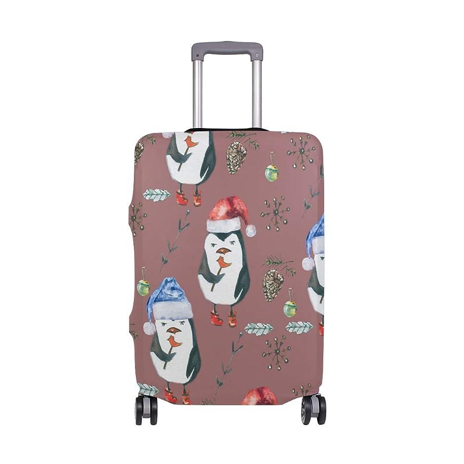 そうでなければ膨張する採用スーツケースカバー ペンギン 花柄 かわいい 伸縮素材 保護カバー 紛失キズ 保護 汚れ 卒業旅行 旅行用品 トランクカバー 洗える ファスナー 荷物ケースカバー 個性的
