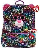 Ty – Mochila cuadrada de peluche con lentejuelas – Dotty Le Leopard, TY95045, multicolor
