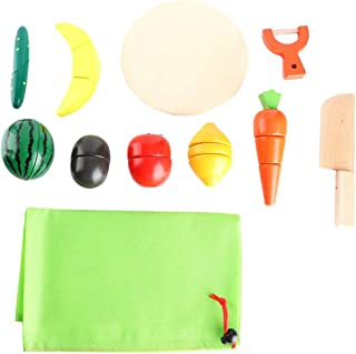 Fruit Cutting Toy, Kid Simulation Wooden Vegetable Kitchen Food Cooking Pretend Play Set Toys