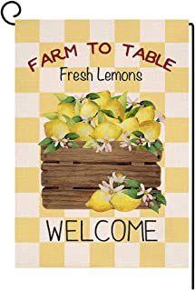 Yellow Buffalo Lemon Welcome Small Garden Flag Vertical Double Sided Farmhouse Burlap Yard Outdoor Decor 12.5 x 18 Inches...