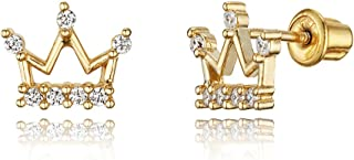 14k Gold Plated Brass Princess Crown CZ Screwback Baby Girls Earrings with Silver Post