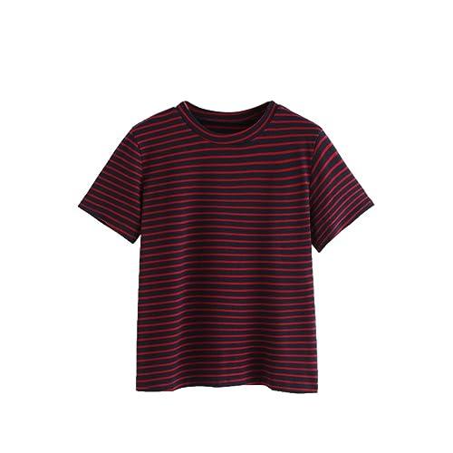ce3fe79d84a048 MAKEMECHIC Women's Casual Loose Striped Short Sleeve T-Shirt Tee Top